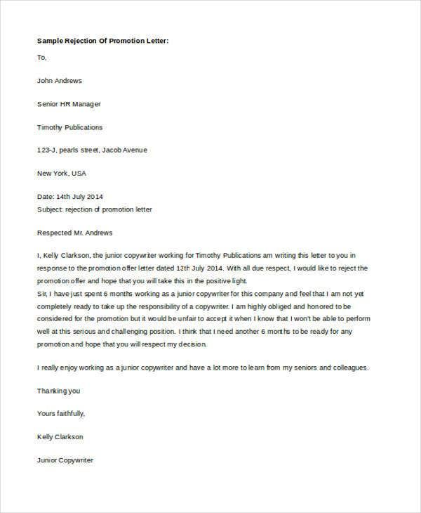job promotion refusal letter