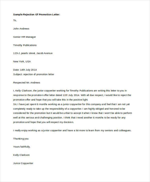 sample job promotion letter