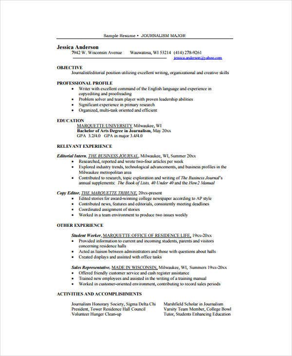 10+ Journalist Resume - Free Sample, Example Format Download
