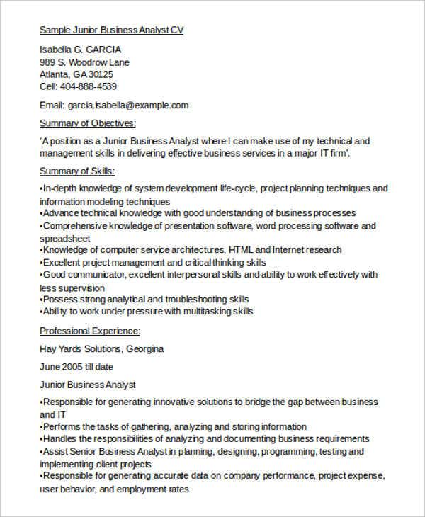 Junior Business Analyst Cv