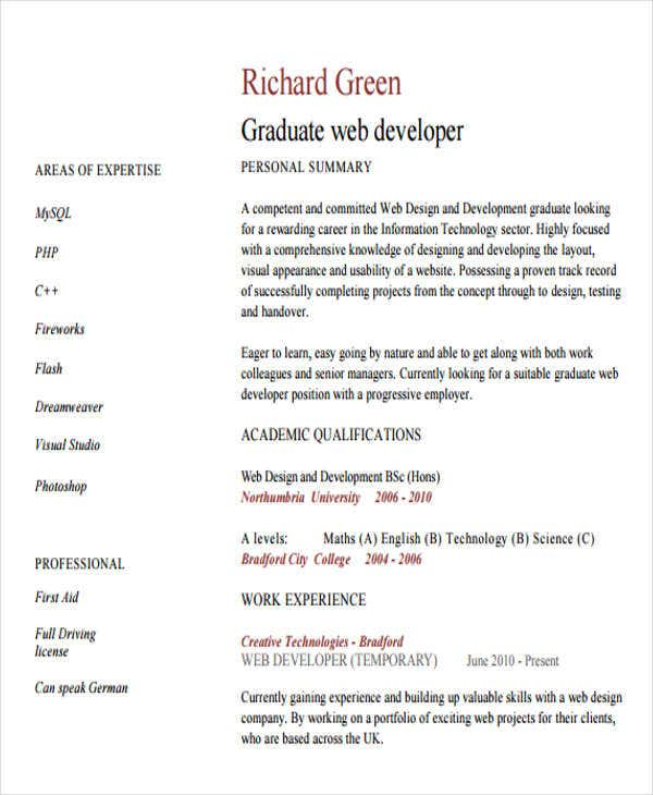 7+ Web Developer Resume Templates - Free Samples, Examples Format ...
