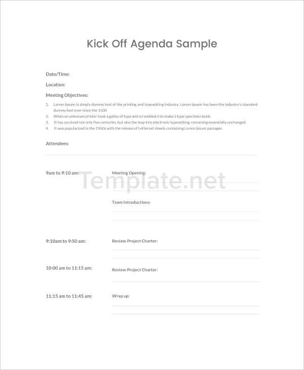 Kick-Off Agenda