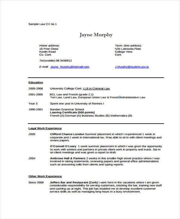 law curriculum vitae sample