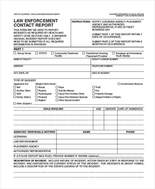 law enforcement contact report