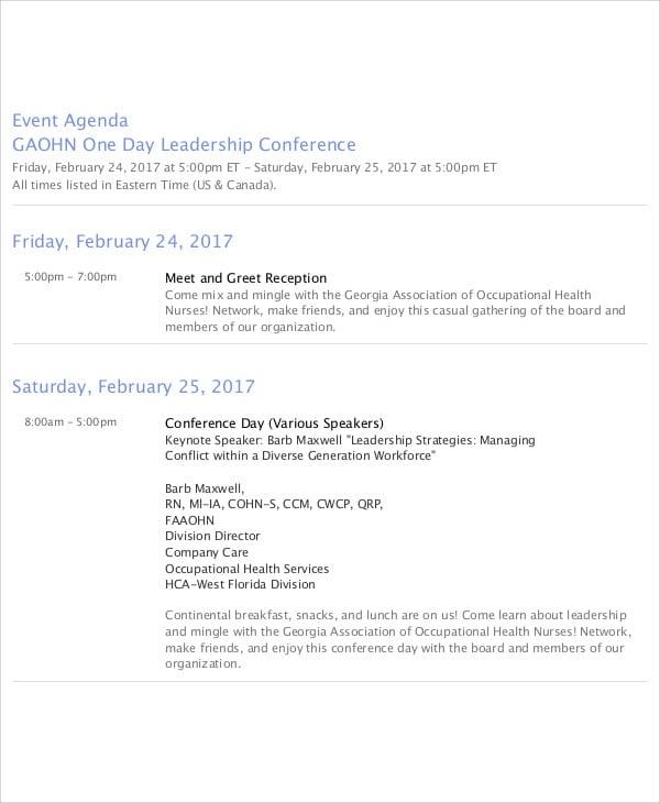 leadership event agenda