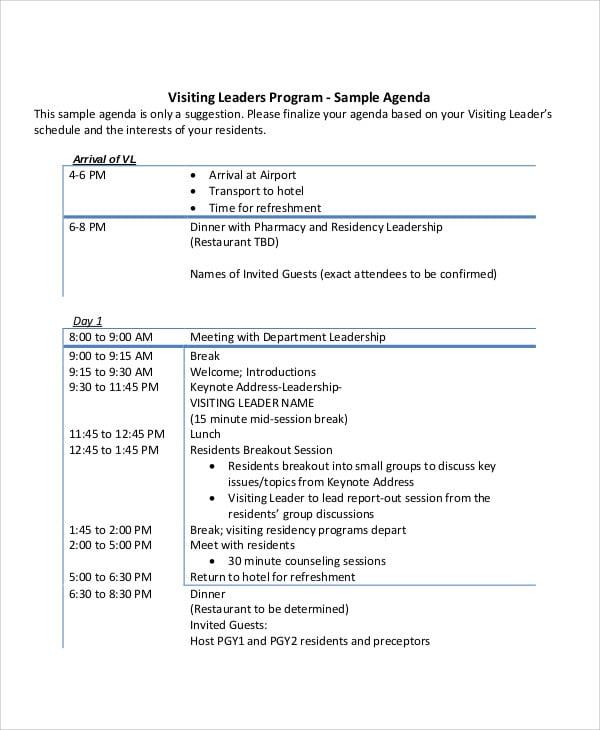 leadership program agenda1