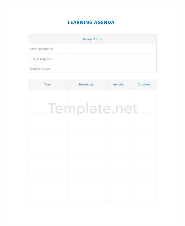 Learning Agenda Template