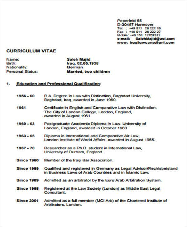 10+ Legal Curriculum Vitae Templates - PDF, DOC