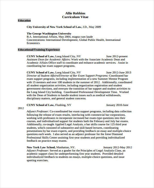 10+ Legal Resume Templates - PDF, DOC