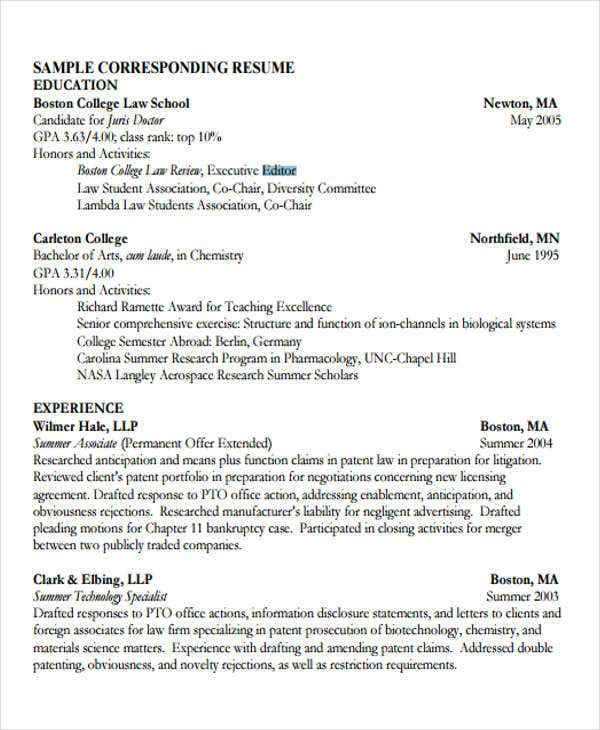 Legal Resumes - 7+ Free Word, Pdf Format Download | Free & Premium