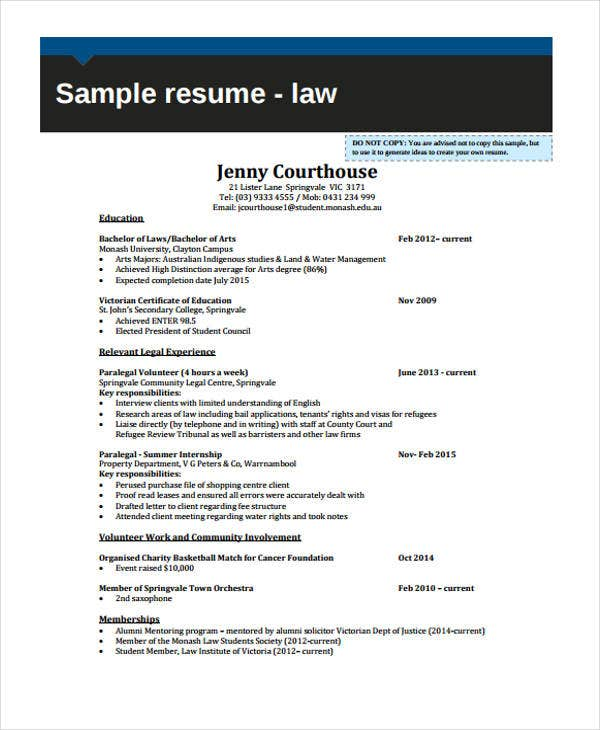 legal experience sample