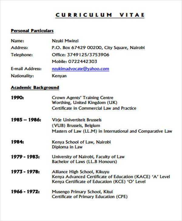 legal officer curriculum vitae1