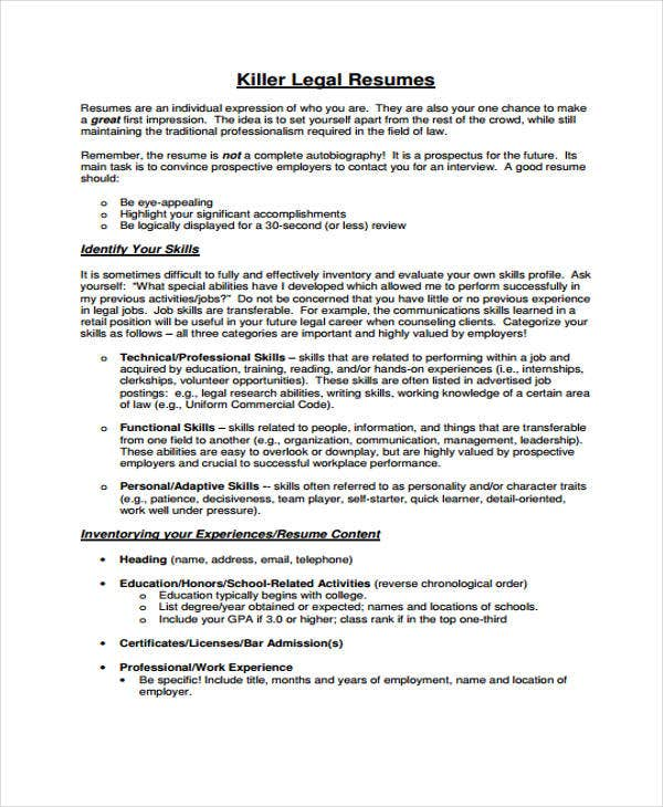 Legal Resumes  Free Sample Example Format Download  Free