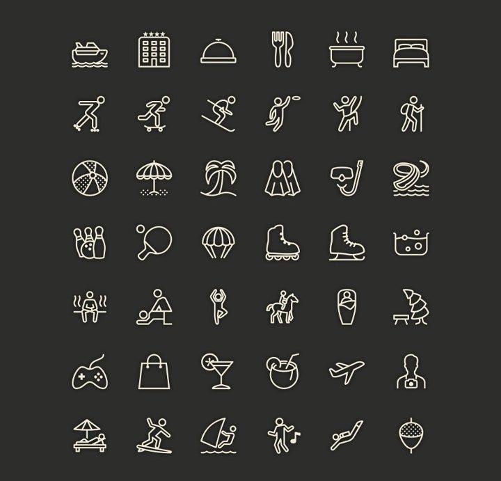 leisure line icons
