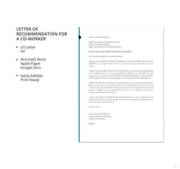 letter of recommendation for a co worker template1