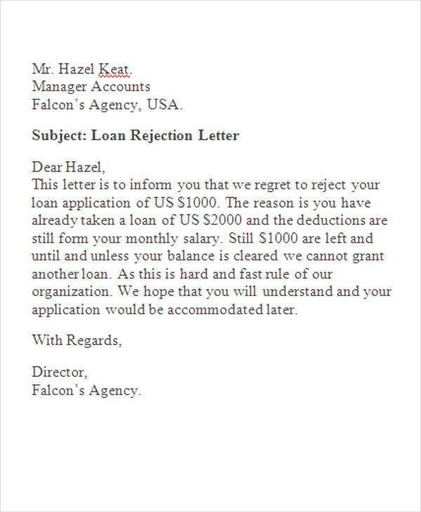Loan rejection letters 10 free sample example format download loan proposal spiritdancerdesigns Image collections