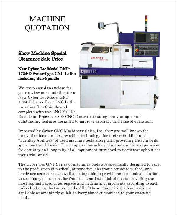 machine quotation sample