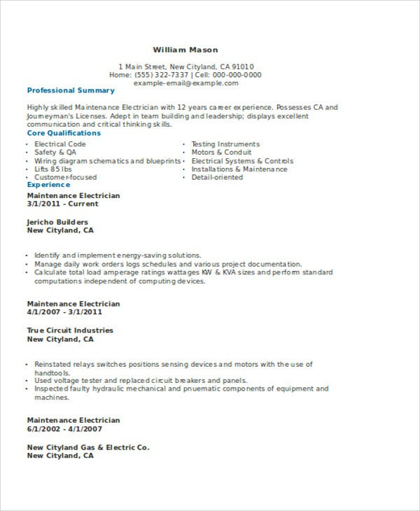 electrician resume format resume example electrical engineer