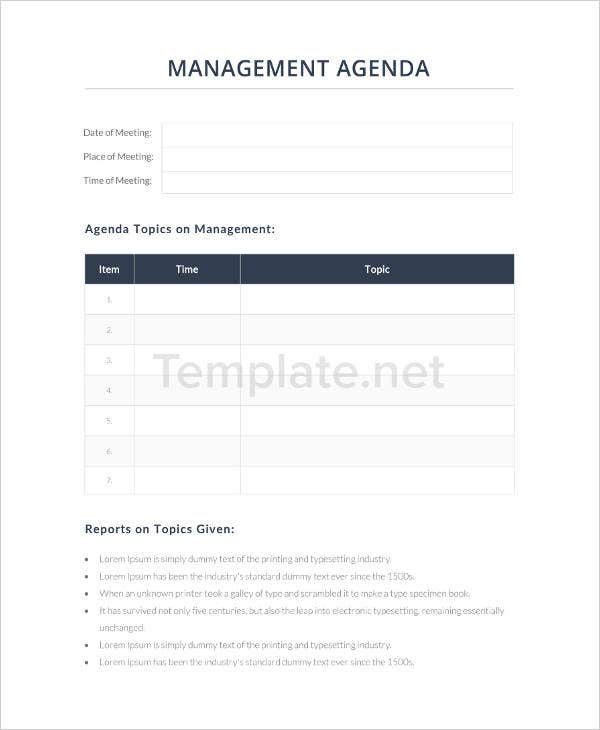 Management Agenda Example