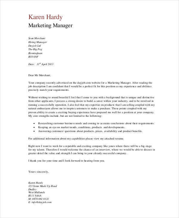 Marketing Cover Letter Templates  Free Sample Example Format