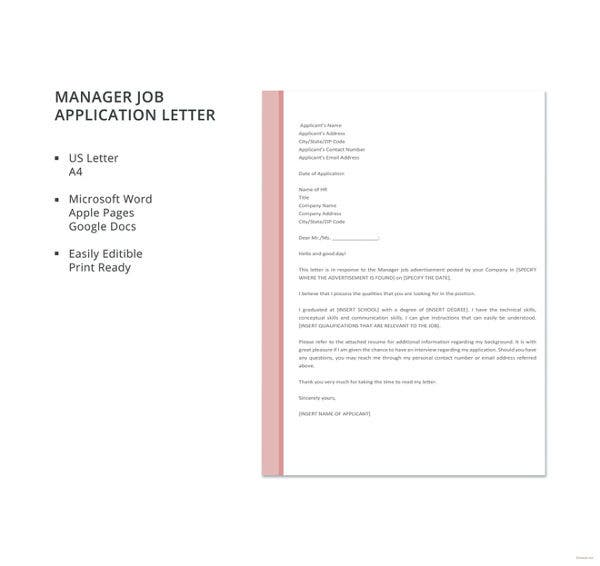 manager job application letter template