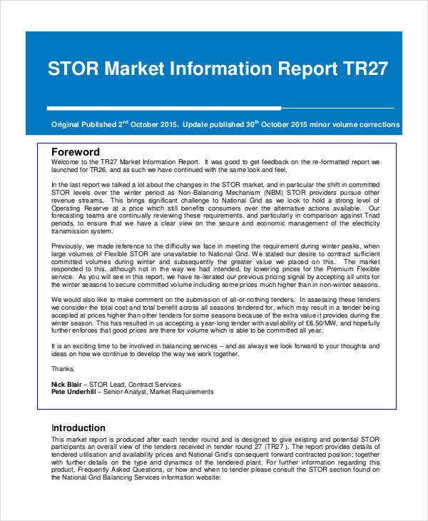 market information report template
