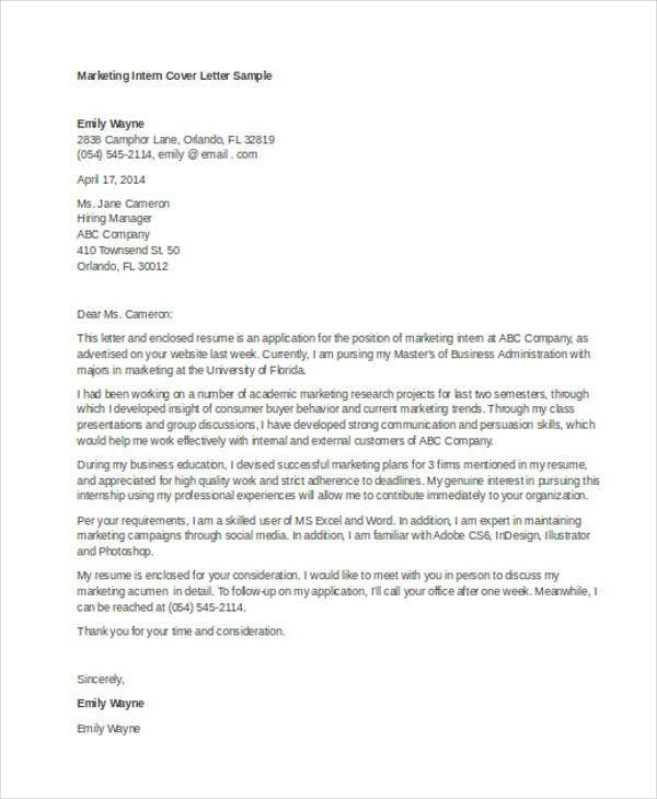 internship cover letters marketing Get the best job in internship area use this internship cover letter example and make the most current cover letter for you.