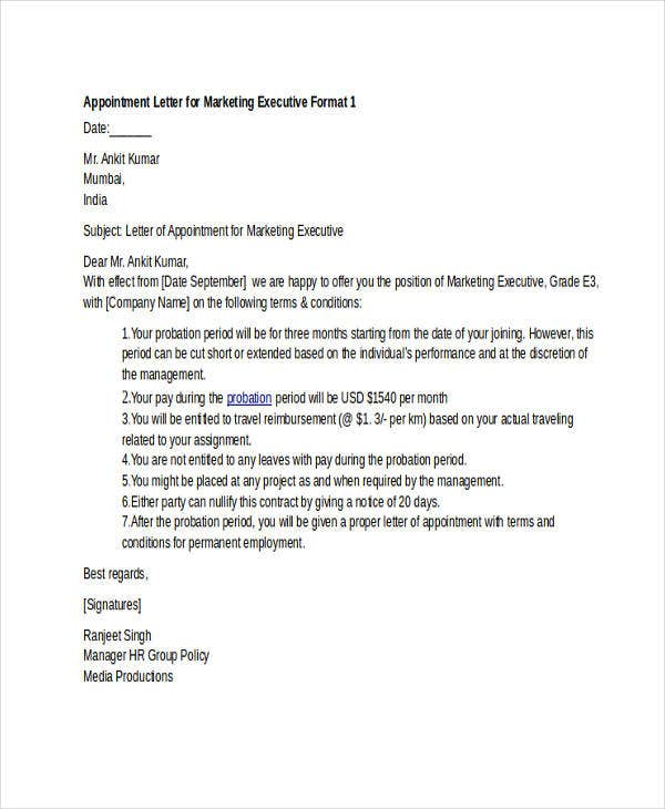 Offer Letter Format For Marketing Executive In India