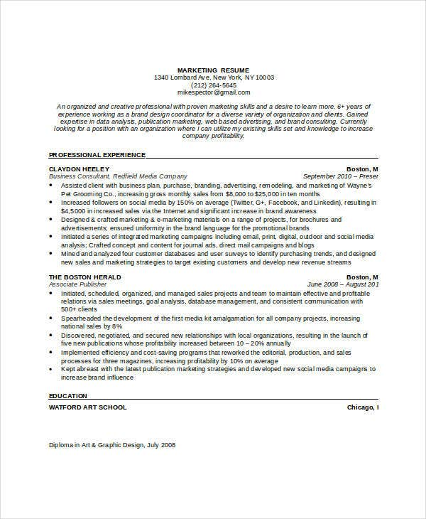 marketing job resume