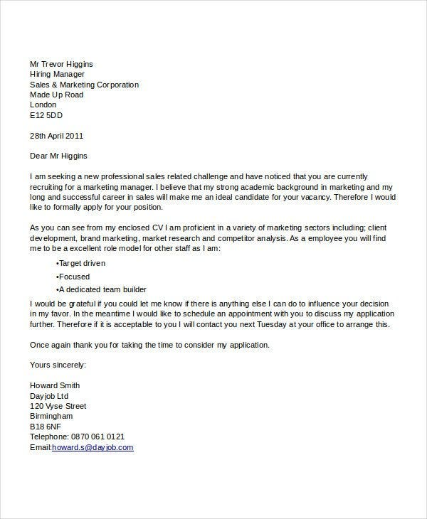 marketing manager job application letter