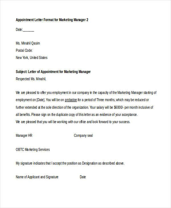 Marvelous Marketing Manager Idea Marketing Letter Format