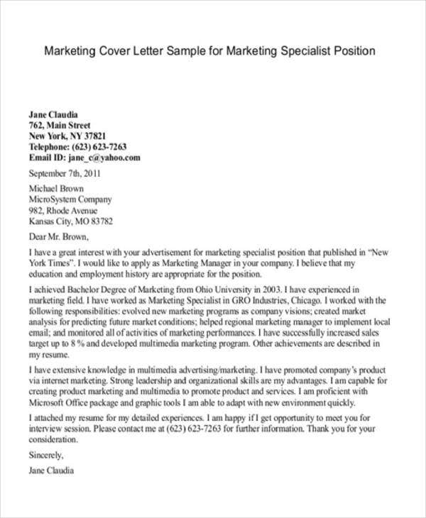 application letter example for marketing