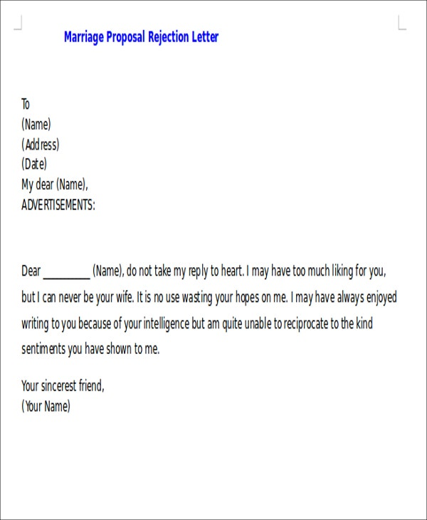 Proposal Rejection Letters 7 Free Sample Example Format – Marriage Proposal Template