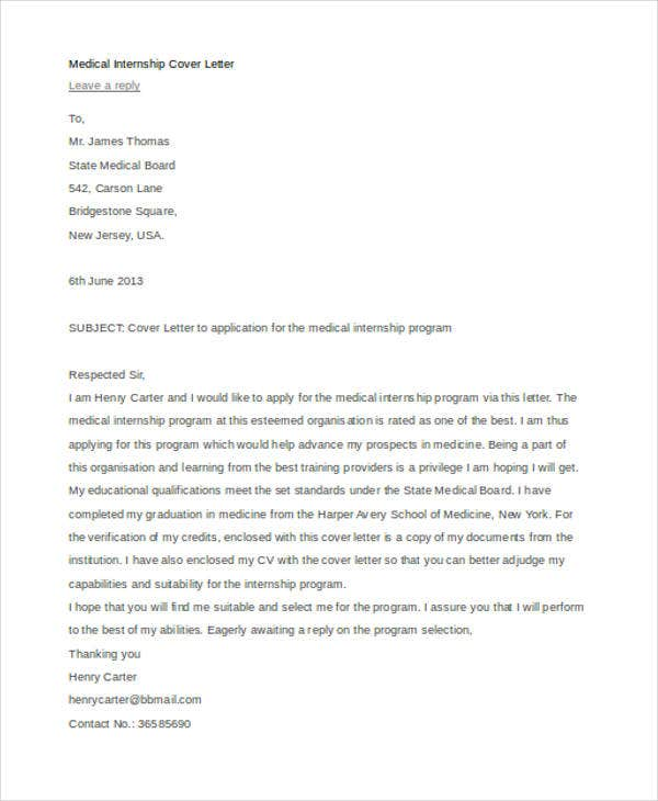 writing cover letter for internship 9 internship cover letter free sample example format 25838