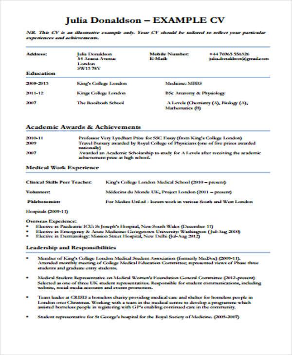 medical cv format medical representative fmlmacuk - Cv Format Uk