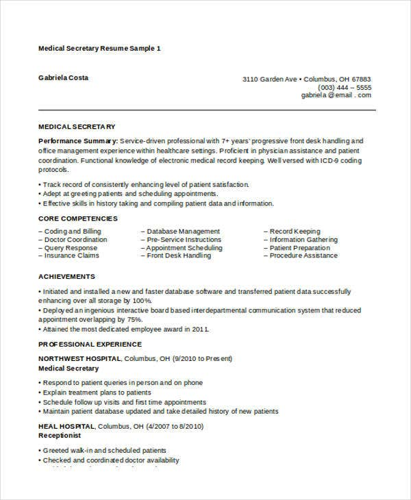 free medical secretary resume sample unit receptionist objective