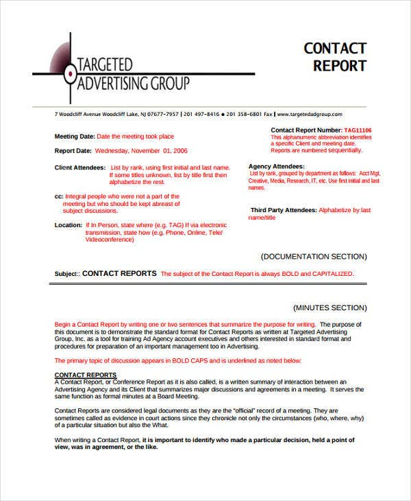 Contact Report Templates - 8+ Free Word, Pdf Format Download