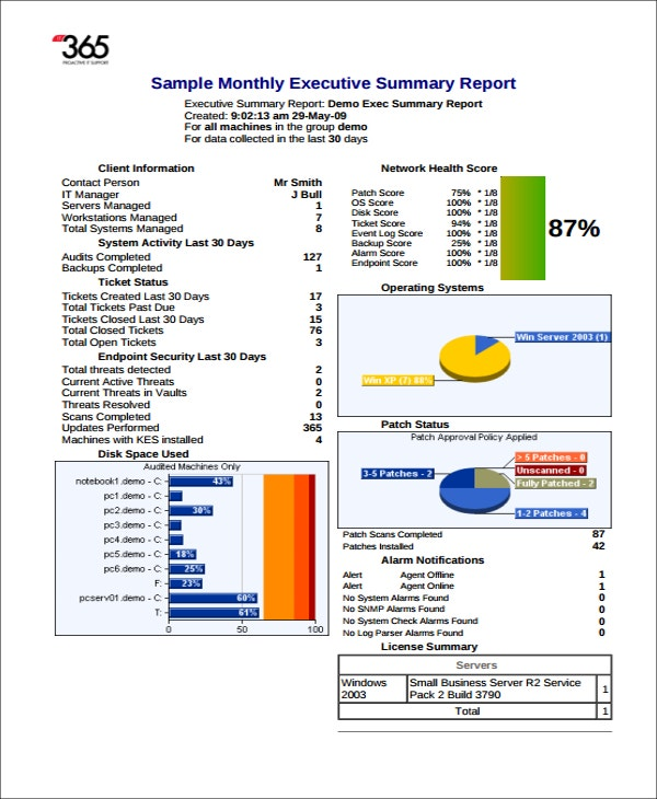 business report executive summary