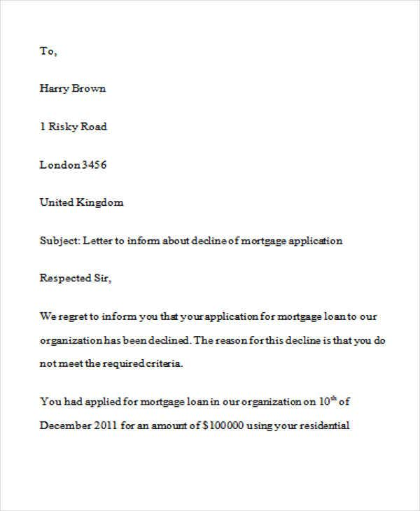 Loan rejection letters 10 free sample example format for Loan denial letter template
