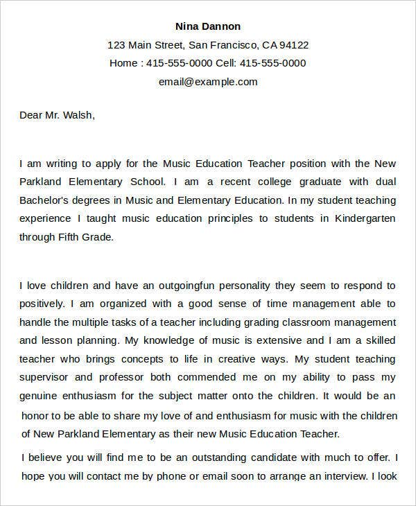 music teacher resume cover letter elementary examples private sample teaching - Resume Cover Letter Teacher