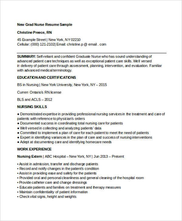 Curriculum Vitae For New Graduate