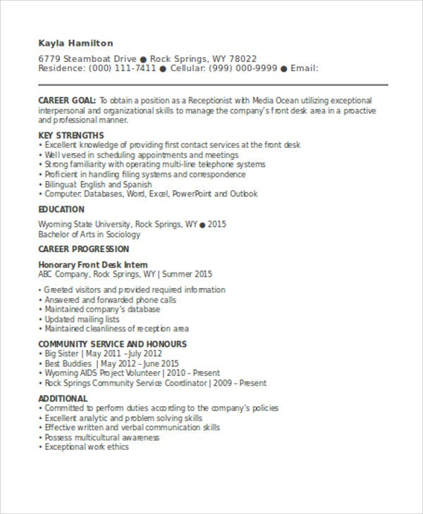 curriculum vitae for receptionist