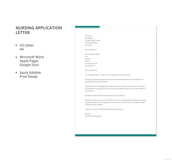 Sample Nursing Application Letter Template  Nursing Cover Letter Format