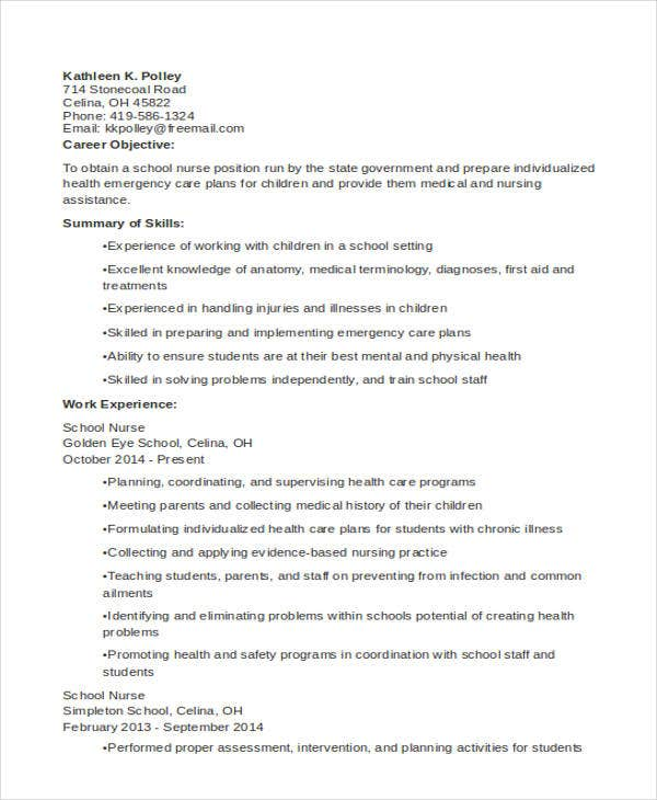 nursing school resume format