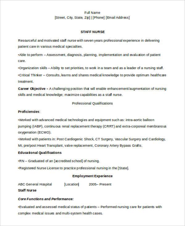 curriculum vitae nursing template
