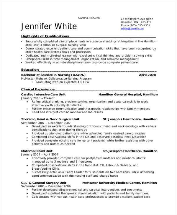 Ordinaire Nursing Student Resume