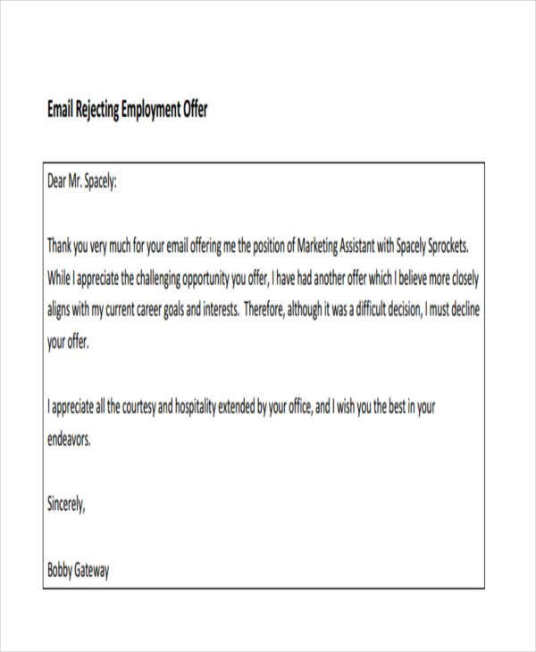 6 Email Rejection Letter Templates Free Word PDF Doc Format