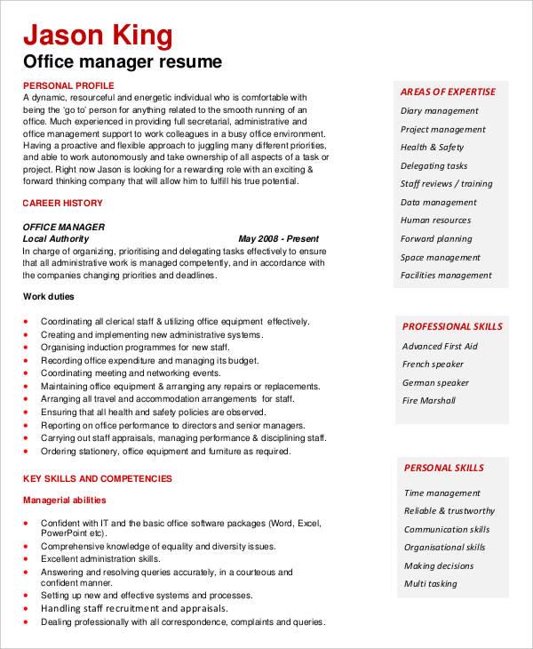 office manager curriculum vitae - Cirriculum Vitae Example
