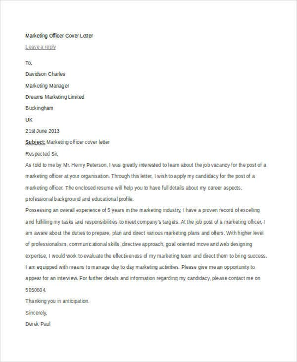 officer cover letter