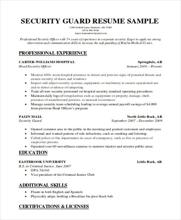 Security Guard Resumes Free Word PDF Format Download Free - Resume for security guard